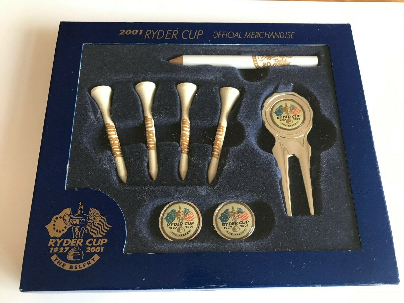 Primary image for RYDER CUP 2001 GOLF GIFT SET. DIVOT TOOL, MARKERS, PENCIL AND TEES
