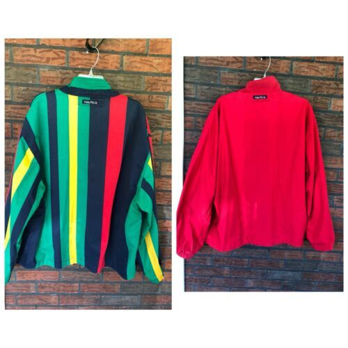 Nautica Reversible Jacket XL Red Striped Lightweight Coat Sailing Boat Vintage image 11