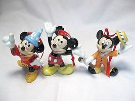 Three Mickey Christmas Ornaments, Ceramic. Brightly Painted, Pretty Colors - $29.99