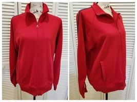 Express Womens Medium jacket long sleeve full zipper red sweat size M (H32) - $19.65