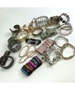 Bracelets Lot Bangle Cuff Stretch Metal Shell colorful Boho Retro  - $19.79