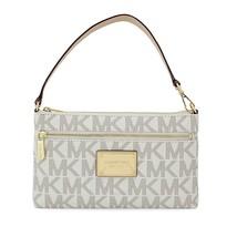 NWT Michael Kors Jet Set Large Wristlet Leather PVC Wallet Vanila Handbag - $296.99