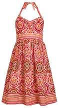 Bonnie Jean Big Girl Tween 7-16 Orange Floral Medallion Print Halter Dress