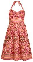 Bonnie Jean Big Girl Tween 7-16 Orange Floral Medallion Print Halter Dress image 1