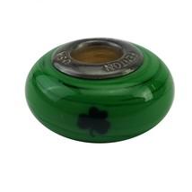 Fenton Green Glass Collegiate Bead Notre Dame Sterling Silver NCAA Charm... - $35.00