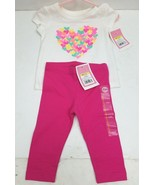 CIRCO  Baby Girl 12M 2 Piece Pant/Top T-Shirt  White/Pink Set Colorful H... - $12.23