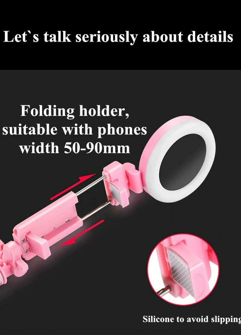 Selfie Stick LED Ring Light Stand 1.7M Extendable Monopod Universal Phones Mount image 12