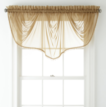 """Liz Claiborne Lisette Sheer Imperial Beaded Valance 90"""" W X 33 1/2"""" L Fawn - $21.99"""