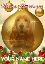 English Cocker Spaniel Bauble Merry Christmas Personalised Greeting Card... - $3.88