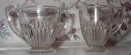 Vintage Jeannette ANNIVERSARY  Sugar and Creamer Clear Glass - $14.80