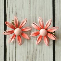 vintage pink enamel flower clip earrings mid century midcentury - $9.89