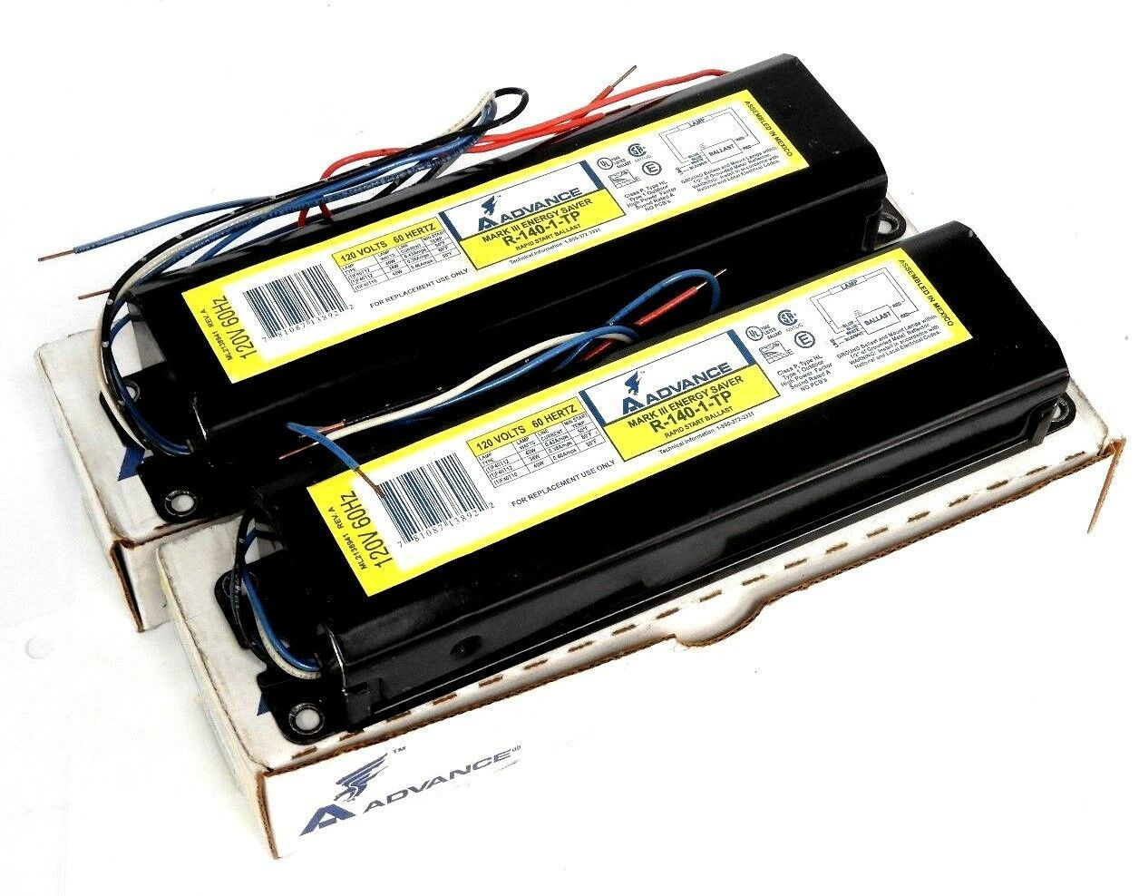 2 NIB ADVANCE R-140-TP RAPID START BALLASTS 120V 60HZ LAMP 1F40T12