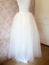 4-Layered White Tulle Skirt White Maxi Tulle Skirt Petticoat White Bridal Tutu  image 7