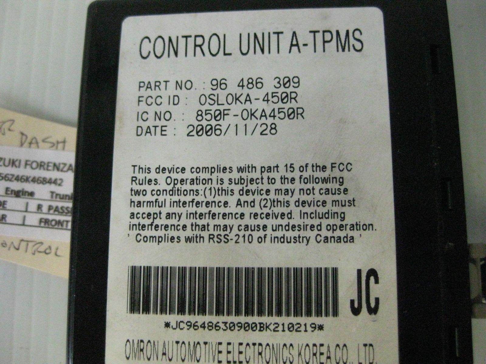 Suzuki Forenza 2006 TPMS Control Unit OEM 96486309