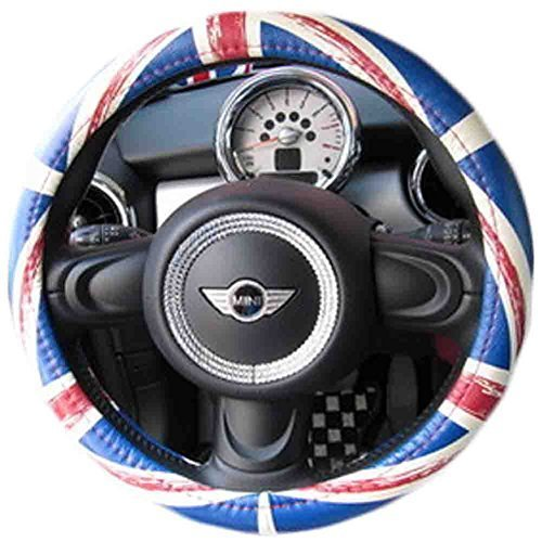 PANDA SUPERSTORE Personality Genuine Leather Steering Wheel Cover(Bluish Red Col