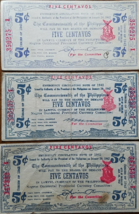 PHILIPPINE Negrois Occidental 1942 Five Centavo Emergency Notes (3) - $6.95