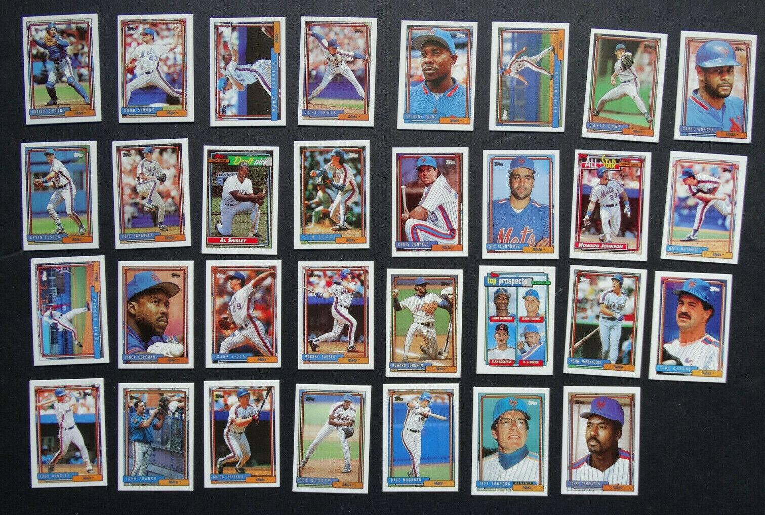 1992 Topps Micro Mini New York Mets Team Set of 31 Baseball Cards