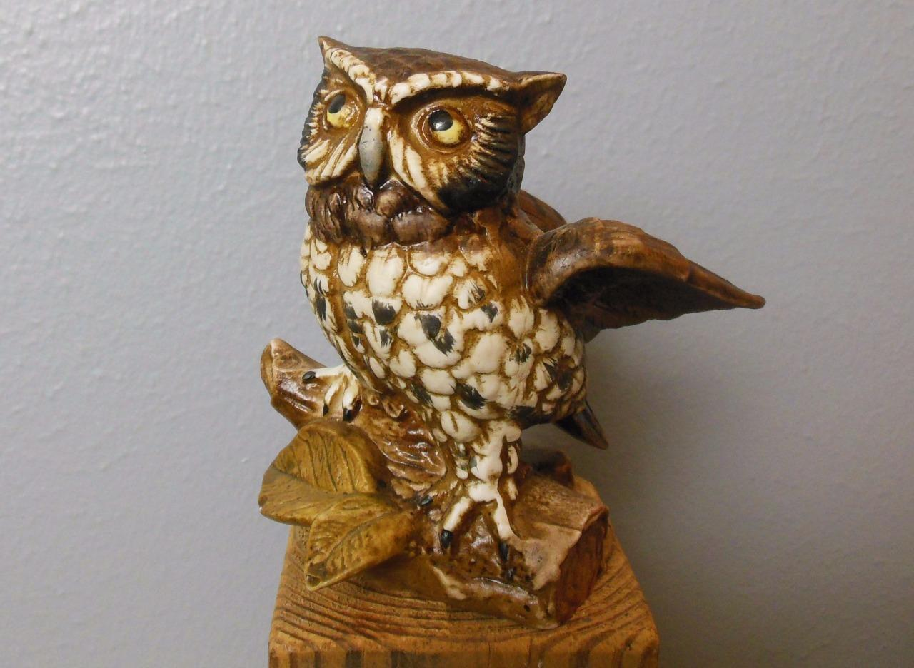 Vintage Great Horned Owl Homco Figurine 1114 Bisque Porcelain 5.5""