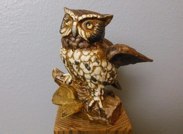"Vintage Great Horned Owl Homco Figurine 1114 Bisque Porcelain 5.5"" - $14.00"