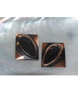 Vintage Large Copper with Raised Open Teardrop Rectangle Clip Earrings –... - $13.99
