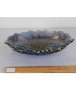 Imperial Glass Quilted Pansy Smoke Blue Iridescent Carnival Pickle Relis... - $24.99