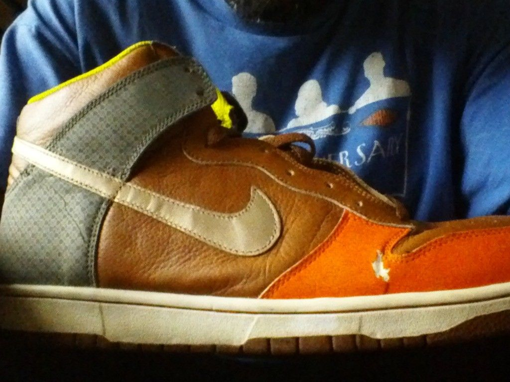 NIKE basketball size 12 BROWN Orange grey white WORK SHOES