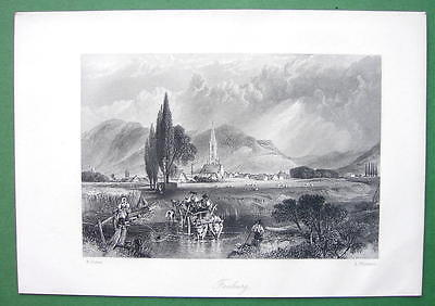 GERMANY Freiburg on Rhine River - Engraving Antique Print by Birket Foster