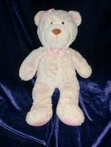 """Carters Beige Tan Teddy Bear Plush Lovey Pink Flower Bow 11.5"""" - $15.98"""