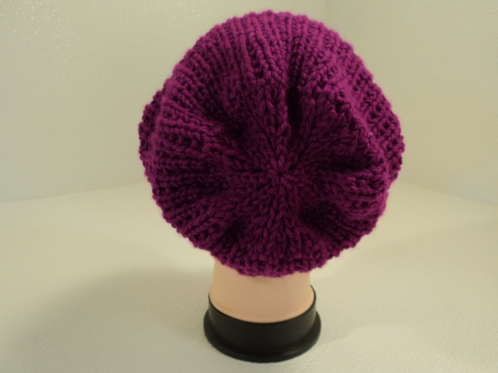 Handcrafted Beanie Hat Magenta Textured Slouchy 100% Acrylic Female Adult Solid