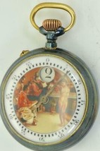Exceptionally rare antique digital JUMP HOUR fancy enamel dial Swiss wat... - $2,200.00