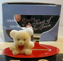 Avon Valentine Teddy Bear Collection You're Toast of the Town Mirror Fig... - $9.50