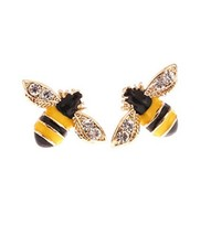 CRB Fashion Sparkle Rhinestone Bumble Bee Clip On Earrings Bee - $9.69