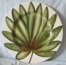 Fitz and Floyd In Bloom Dinner or Buffet Plate Green Leaf Pattern - $24.64