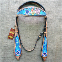 Western Horse Headstall Tack Bridle American Leather Floral Hilason U-5-HS - $60.00