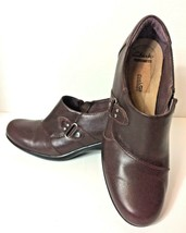Clarks Bendables Zip Up Brown Leather Shoe Booties - US Size 9.5 M - $11.20
