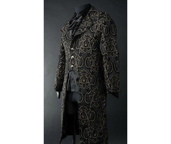 NWT Men's Black Brocade Steampunk Victorian Goth Vampire Tailcoat Jacket