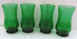 Vintage Green Handblown set (4)  Depression Collectible Mini Juice Glasses - $29.99