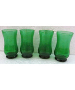 Vintage Green Handblown set (4)  Depression Collectible Mini Juice Glasses - $29.99