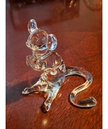 Vintage Clear Hand Blown Glass Mouse Figurine, 1980s, Mint - $15.00