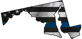Thin Blue Line Police State of Maryland Laser CutOut Metal Sign 17Wx8H. - $25.74