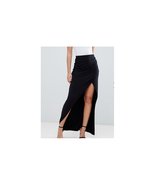 ASOS DESIGN wrap maxi skirt with ruched side Black Size US 8 NWT - $16.83