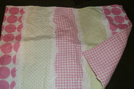 MADDIE PINK Standard PILLOW SHAM quilted dots lime plaid - $7.60