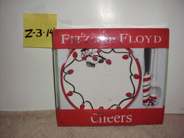 2006 Fitz and Floyd Cheers Snack Plate & Spreader Snowman Christmas Ligh... - $19.99