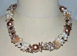 VTG Silver Tone Heavy Metallic Brown Faux Pearl Glass Statement Choker Necklace - $49.50