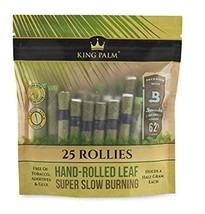 King Palm - Hand Rolled Palm Leaf Wrap Rolls - Rollies Size - 25 Rolls/Pouch - 1