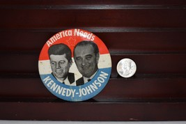 Vintage 1960 President Kennedy Johnson Political Pinback Button America ... - $16.09