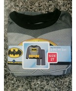 NEW BOY'S DC COMICS BATMAN 2 PC FLEECE PAJAMA PJS SET SZ 2T GRAY LONG SL... - $8.90