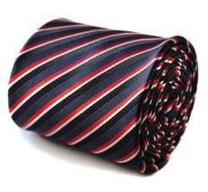Navy Rosso e nero a righe Uomo POLE DANCE Cravatta da Frederick Thomas ft729