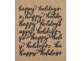 North Woods Rubber Stamps 2004 Happy Holidays Wood Mounted Rubber Stamp image 1