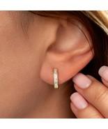 0.30Ct Baguette Created Diamond Huggie Hoop Earrings Solid 14K Yellow Go... - $108.89